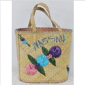 Nassau Woven Straw Tote Bag Raffia Flowers Large S